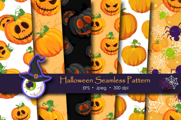 Print on Demand: Halloween Pumpkins and Ghost Pattern Graphic Patterns By jannta - Image 1