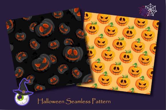 Print on Demand: Halloween Pumpkins and Ghost Pattern Graphic Patterns By jannta - Image 2
