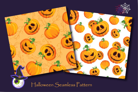 Print on Demand: Halloween Pumpkins and Ghost Pattern Graphic Patterns By jannta - Image 3
