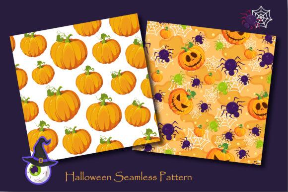Print on Demand: Halloween Pumpkins and Ghost Pattern Graphic Patterns By jannta - Image 4