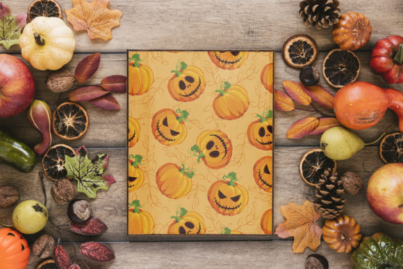 Print on Demand: Halloween Pumpkins and Ghost Pattern Graphic Patterns By jannta - Image 7