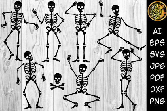 Halloween Skeleton Silhouette Cricut Graphic Illustrations By V-Design Creator