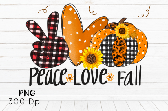 Print on Demand: Halloween Sublimation Peace Love Fall Graphic Illustrations By Suda Digital Art