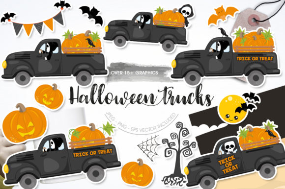 Print on Demand: Halloween Truck Graphic Graphic Templates By Prettygrafik