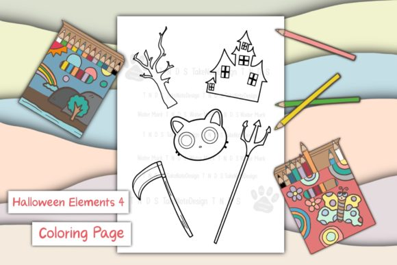 Halloween Elements 4 Graphic Coloring Pages & Books Kids By TakeNoteDesign
