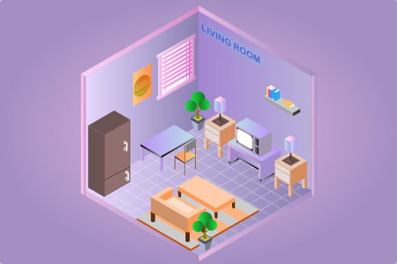 Isometric Living Room Interior Graphic Objects By YonTypeStudio.Co
