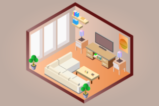 Isometric Living Room Graphic Objects By YonTypeStudio.Co