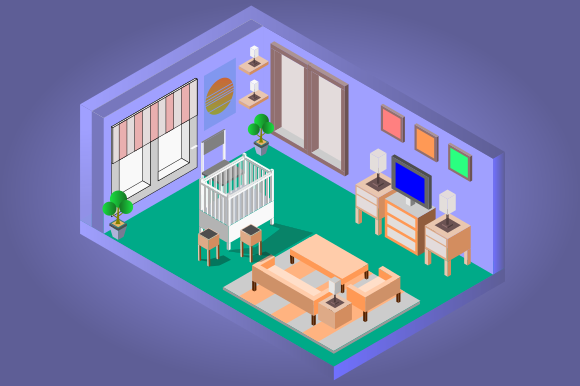 Isometric Low Poly Baby Room Graphic Objects By YonTypeStudio.Co