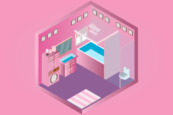 Isometric Low Poly Bathroom Interior Graphic Objects By YonTypeStudio.Co
