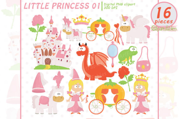 Little Princess Clipart, Pink Fairy Tale Graphic Illustrations By clipartfables