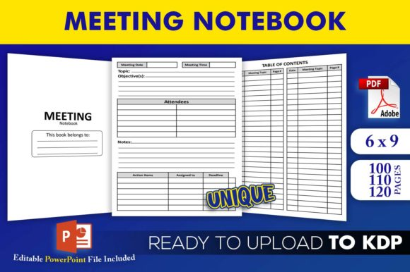 Print on Demand: Meeting Notebook | KDP Interior Template Graphic KDP Interiors By Beast Designer