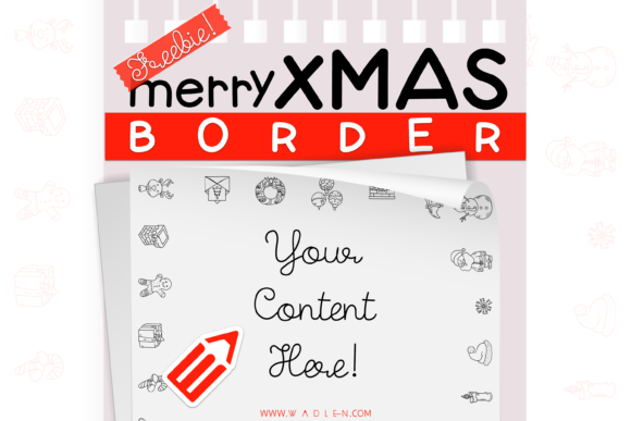 Merry Xmas Border Template Graphic Print Templates By WADLEN