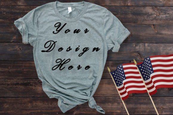 Mockup Grey T-shirt, American Flag Graphic Product Mockups By MockupsByGaby