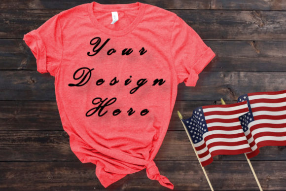 Mockups Red T-shirt, American Flag Graphic Product Mockups By MockupsByGaby