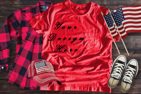 Mockups Red T-shirt, Buffalo Paid, Flag Graphic Product Mockups By MockupsByGaby