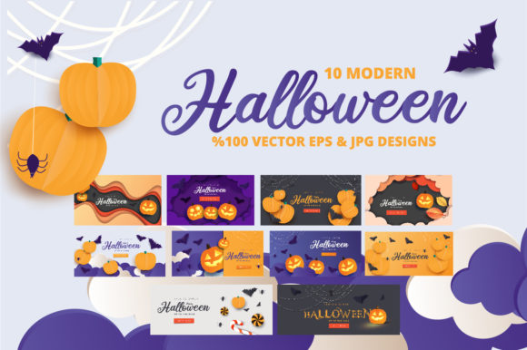 Print on Demand: Paper Art Halloween Night Background Graphic Illustrations By Mustafa Bekşen