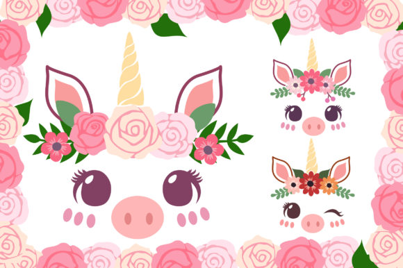 Print on Demand: Piggy Unicorn with Florals Graphic Illustrations By JM_Graphics