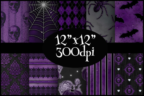 Print on Demand: Purple Halloween Digital Paper Pack Graphic Backgrounds By Party Pixelz