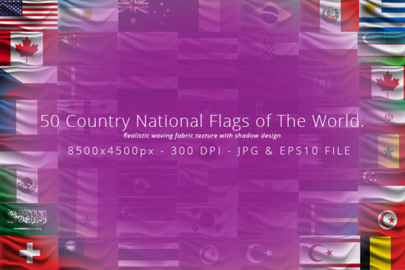 Print on Demand: Realistic Waving 50 Country Flags. Graphic Backgrounds By Mustafa Bekşen