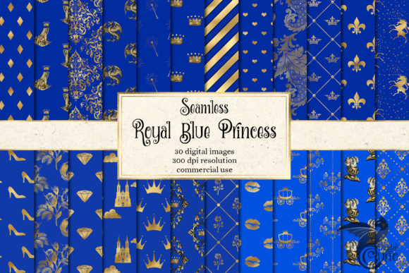 Print on Demand: Royal Blue and Gold Leopard Digital Pape Graphic Backgrounds By Digital Curio