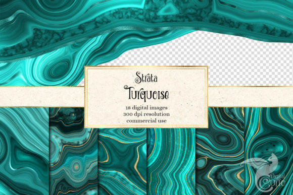 Print on Demand: Strata Turquoise Agate Textures Graphic Textures By Digital Curio