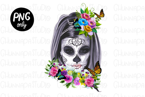 Sublimation-Skull with Flowers Butterfly Graphic Print Templates By CSDesign