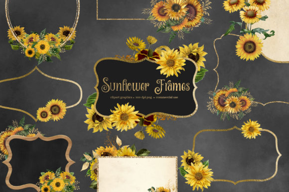 Print on Demand: Sunflower Frames Clipart Graphic Illustrations By Digital Curio