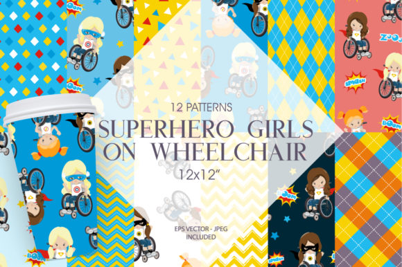 Print on Demand: Superhero Girls on Wheelchair Graphic Patterns By Prettygrafik
