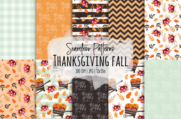 Print on Demand: Thanksgiving/Fall Seamless Patterns Graphic Patterns By loyaarts