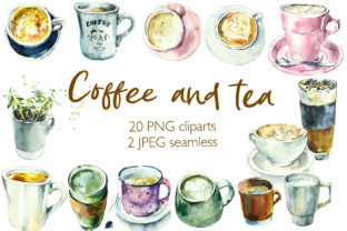 Watercolor Tea and Coffee Cups Graphic Illustrations By Мария Кутузова