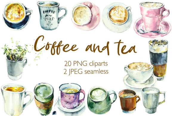 Watercolor Tea and Coffee Cups Grafik Illustrationen von Мария Кутузова