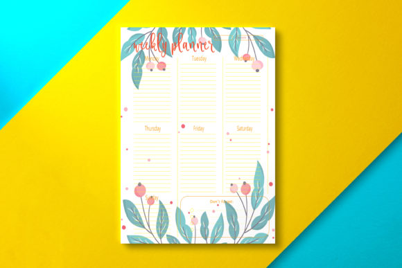 Weekly Planner Berry Graphic KDP Interiors By Nickkey Nick