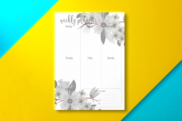 Weekly Planner Floral Graphic KDP Interiors By Nickkey Nick