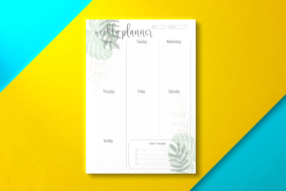 Weekly Planner Tropical Graphic KDP Interiors By Nickkey Nick