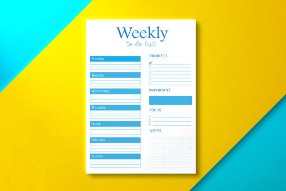 Weekly to Do List Minimalist Blue Graphic KDP Interiors By Nickkey Nick