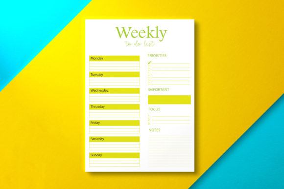 Weekly to Do List Minimalist Olive Graphic KDP Interiors By Nickkey Nick