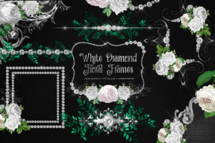 Print on Demand: White Diamond Floral Frames Clipart Graphic Illustrations By Digital Curio