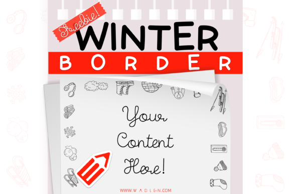 Winter Border Template Graphic Print Templates By WADLEN