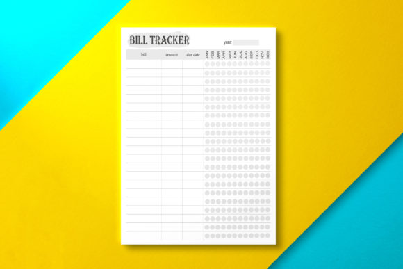 Year Bill Tracker Page Graphic KDP Interiors By Nickkey Nick