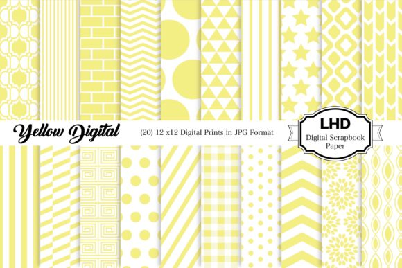 Yellow Digital Paper Pack - Patterns Graphic Patterns By LeskaHamatyDesign