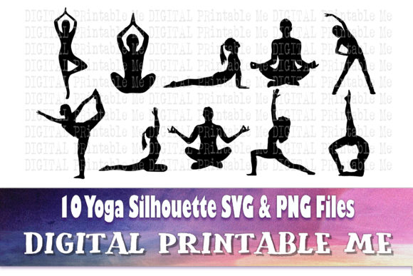 Print on Demand: Yoga Silhouette Pilates Exercise Fitness Graphic Crafts By DigitalPrintableMe