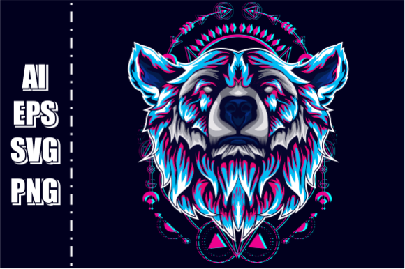 Print on Demand: Bear Head Vector Glitch Graphic Illustrations By AP