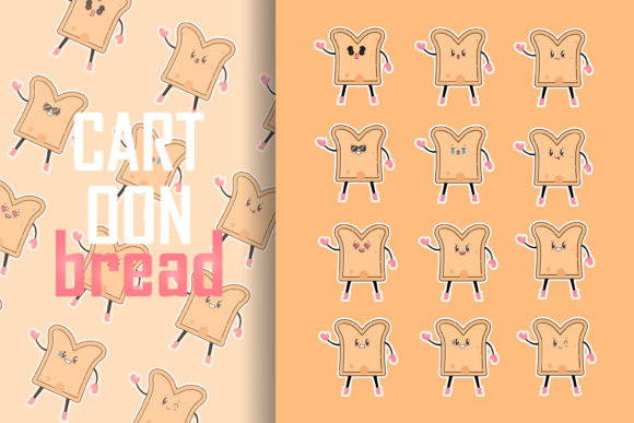 Cartoon Bread Graphic Food & Drinks By lastroll studio