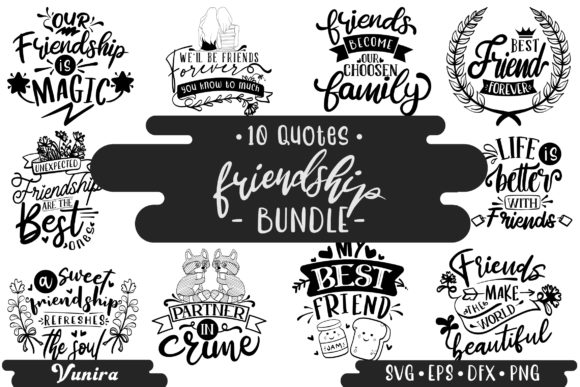 Print on Demand: 10 Friendship Bundle | Lettering Quotes Gráfico Crafts Por Vunira