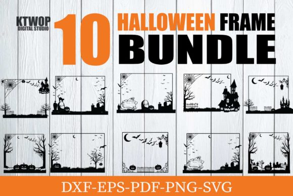 Print on Demand: 10 Haloween Frame Bundle Grafik Plotterdateien von KtwoP