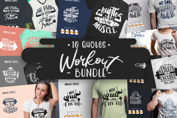 Print on Demand: 10 Workout Bundle  | Lettering Quotes Grafik Plotterdateien von Vunira