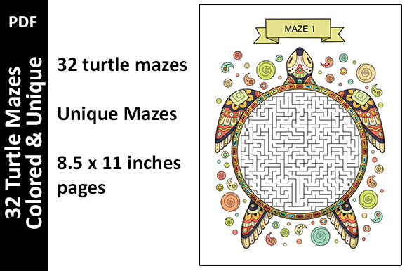 32 Colored Turtle Mazes Activity Unique Graphic KDP Interiors By Oxyp