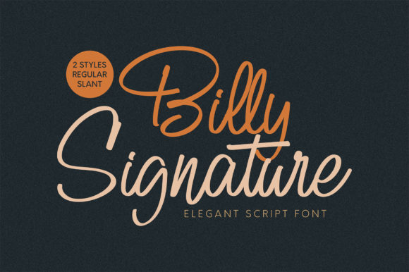 Print on Demand: Billy Signature Script & Handwritten Font By Omotu