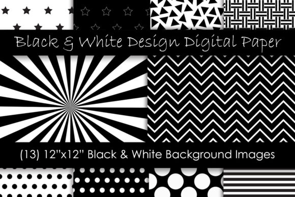 Black and White Digital Paper Textures Graphic Patterns By GJSArt