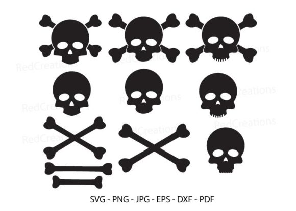 Bundle Skull and Cross Bones Clipart Graphic Crafts By RedCreations